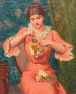 Femme au bouquet - F. Zandomeneghi