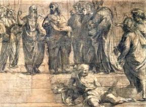 Raphael croquis ecole athenes ambrosiana milan